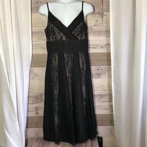 Ann Taylor Loft Black silk over lay dress 4